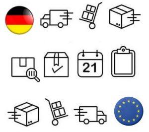 Symbool beschrijving van E-Commerce retouren verwerking in Duitsland