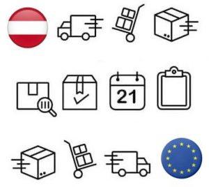 Symbool beschrijving van E-Commerce retouren verwerking in Oostenrijk